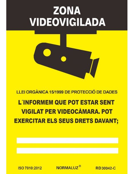 SEÑAL ZONA VIDEOVIGILADA