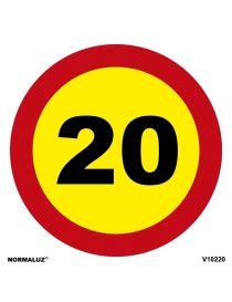 SEÑAL OBRAS PVC LIMITE 20 KM