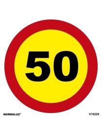 SEÑAL OBRAS PVC LIMITE 50 KM