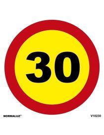 SEÑAL OBRAS PVC LIMITE 30 KM