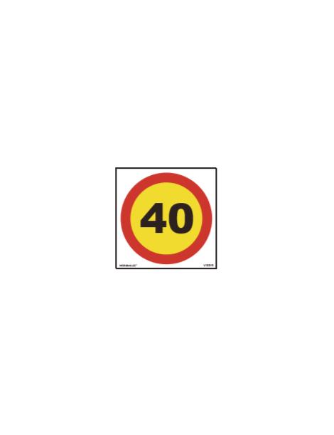 SEÑAL OBRAS PVC LIMITE 40 KM