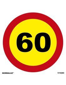 SEÑAL OBRAS PVC LIMITE 60 KM