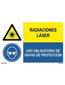 PELIGRO RADIACIONES LÁSER/OBLIGATORIO GAFAS DE PROTACCIÓN
