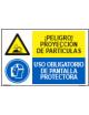 PELIGRO PROYECCIÓN PARTÍCULAS/OBLIGAT. PANTALLA PROTECTORA