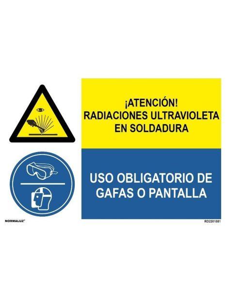 RADIACIONES ULTRAVIOLETA SOLDADURA/OBLIGAT. GAFAS O PANTALLA