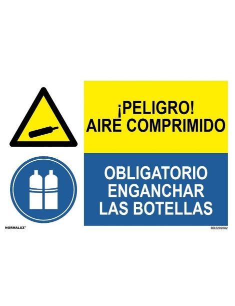 PELIGRO AIRE COMPRIMIDO/OBLIGATORIO ENGANCHAR LAS BOTELLAS
