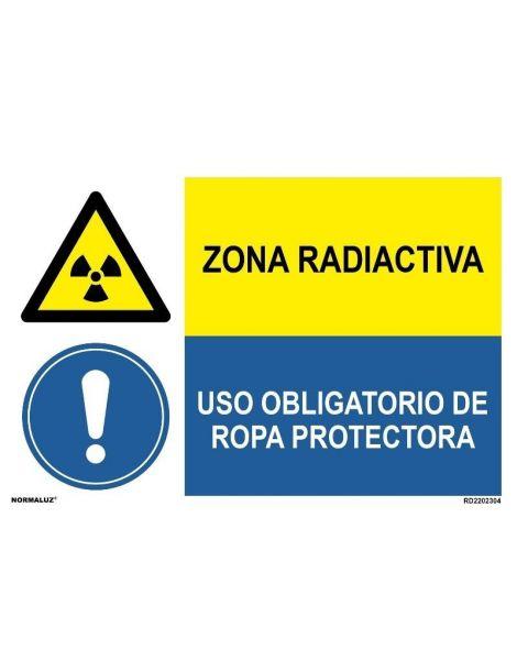 ZONA RADIOACTIVA/OBLIGAT. ROPA PROTECTORA