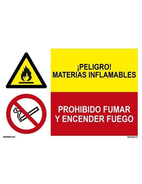 MATERIAS INFLAMABLES/PROH. FUMAR Y ENCENDER FUEGO
