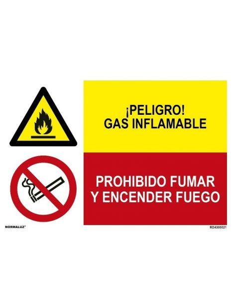GAS INFLAMABLE/PROH. FUMAR Y ENCENDER FUEGO