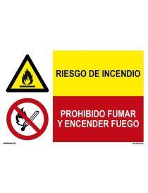 RIESGO DE INCENDIO/PROH. FUMAR Y ENCENDER FUEGO