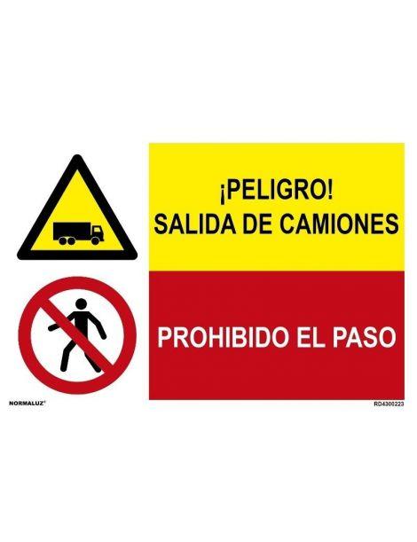 PELIGRO SALIDA DE CAMIONES/PROH. EL PASO
