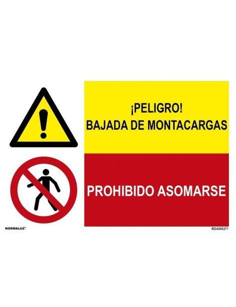 PELIGRO BAJADA DE MONTACARGAS/PROH. ASOMARSE