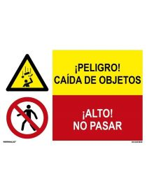 ¡PELIGRO! CAÍDA DE OBJETOS/¡ALTO! NO PASAR