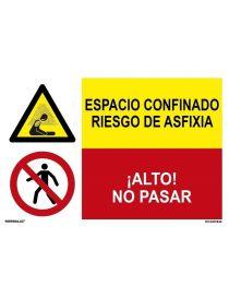 ESPACIO CONFINADO RIESGO DE ASFIXIA/¡ALTO! NO PASAR