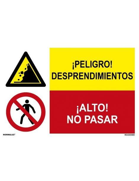 ¡PELIGRO! DESPRENDIMIENTOS/¡ALTO! NO PASAR