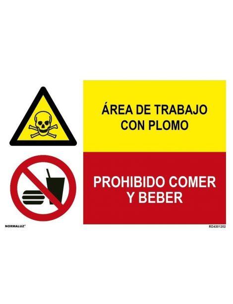 ÁREA DE TRABAJO CON PLOMO/PROHIBIDO COMER Y BEBER