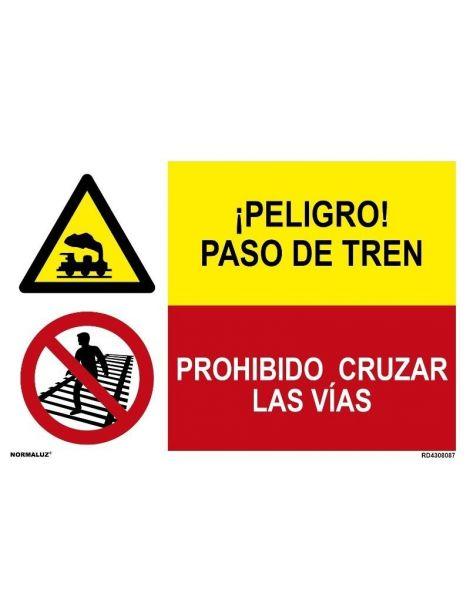 ¡PELIGRO! PASO DE TREN/PROHIBIDO CRUZAR LAS VÍAS