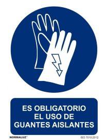 Señal Es obligatorio el uso de guantes aislantes