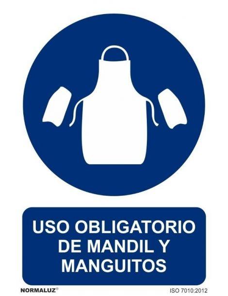 Señal Uso obligatorio de mandil y manguitos