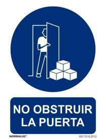 Señal no obstruir la puerta