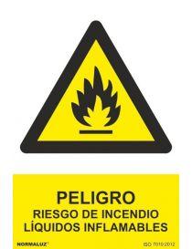 Señal Peligro Riesgo de Incendio Liquidos Inflamables