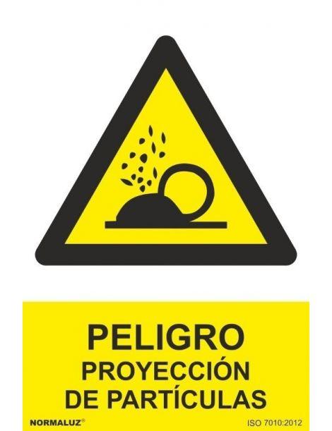 Señal Peligro Proyección de Particulas