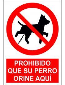 Señal Prohibido que su perro orine aquí