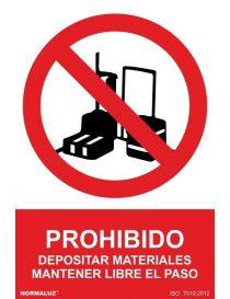 Señal Prohibido Depositar Materiales Mantener Libre el Paso