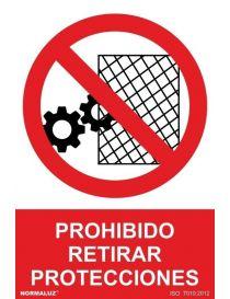 Señal Prohibido Retirar Protecciones