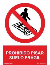 Señal Prohibido Pisar Suelo Fragil