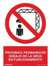 Señal Prohibido Permanecer Debajo de la Grua en Funcionamiento