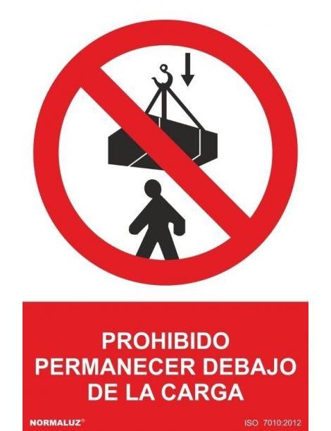 Señal Prohibido Permanecer Debajo de la Carga