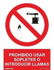 Señal Prohibido Usar Sopletes o Introducir Llamas