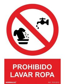 Señal Prohibido Lavar Ropa