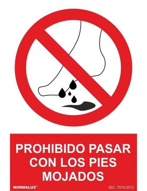 Señal Prohibido Pasar Con Los Pies Mojados