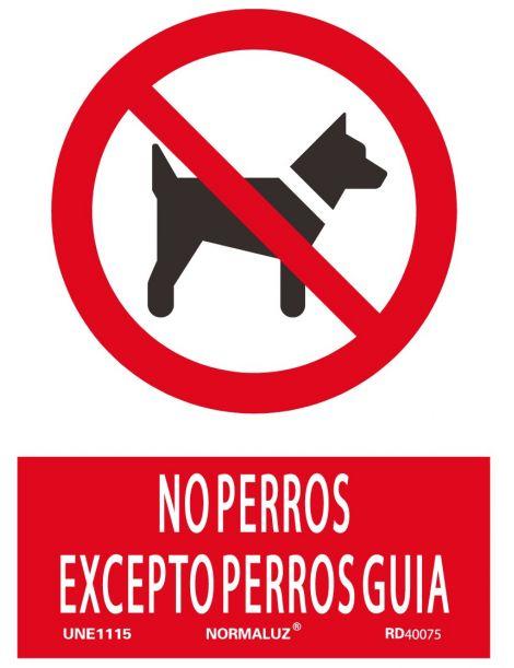 Señal No Perros Excepto Perros Guia