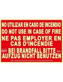 Señal No Utilizar en Caso de Incendio (4 Idiomas)