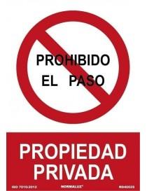 Señal Prohibido el Paso Propiedad Privada
