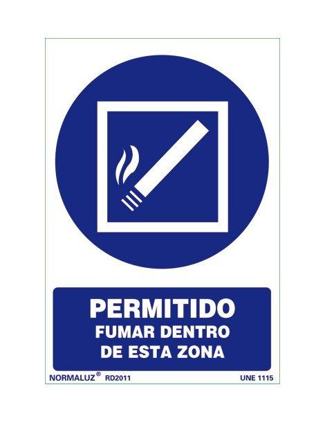 Señal Permitido fumar dentro de esta zona