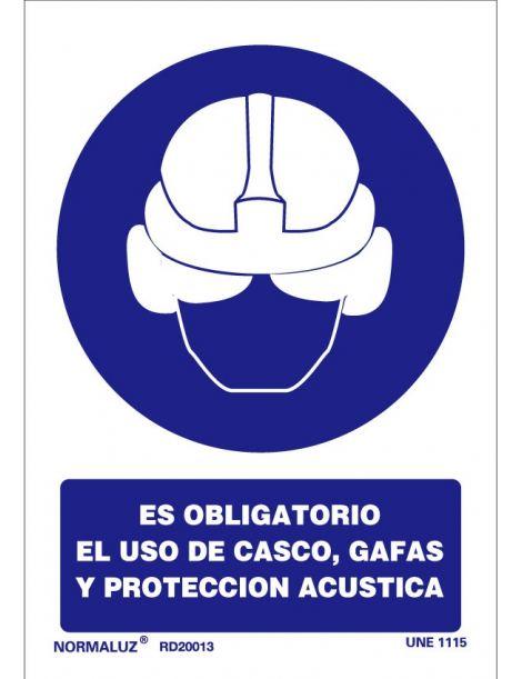 Señal Es obligatorio el uso de casco, gafas y protección acustica