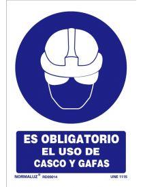 Señal Es obligatorio el uso de casco y gafas
