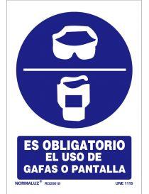 Señal Es obligatorio el uso de gafas o pantalla