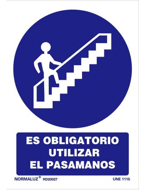 Señal Es obligatorio utilizar el pasamanos
