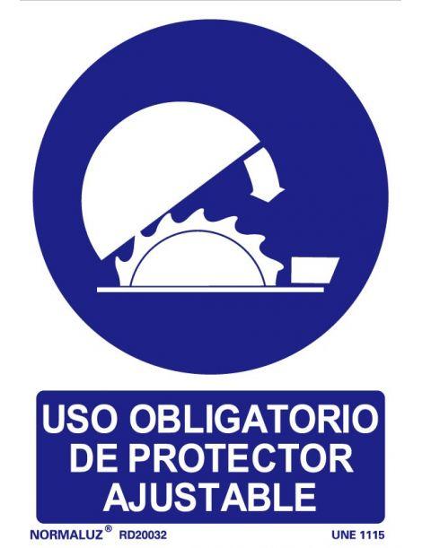 Señal Uso obligatorio de protector ajustable