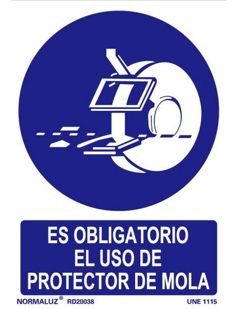 Señal Es obligatorio el uso de protector de mola