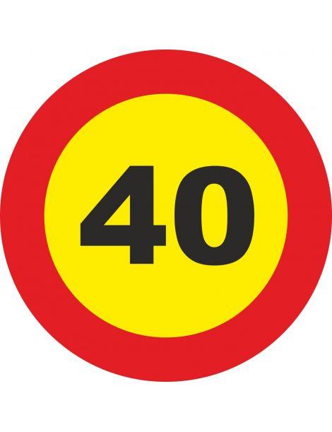 Señal Velocidad Máxima 40