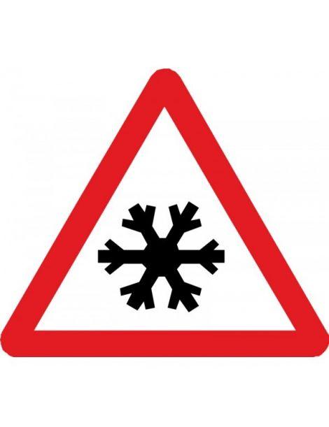 Señal Peligro Pavimento Deslizante por Hielo o Nieve
