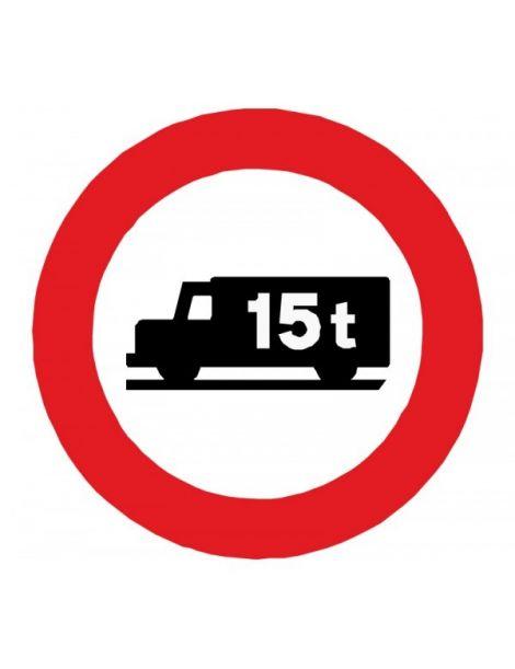 Señal Entrada Prohibida a Vehículos Destinados al Transporte de Mercancías Con Mayor Peso Autorizado que el Indicado