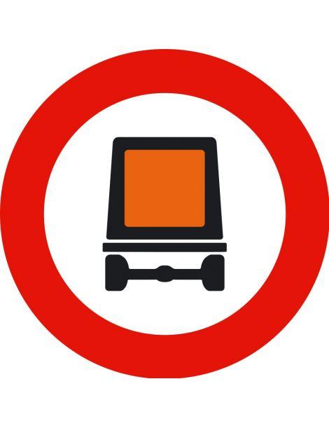 Señal Entrada Prohibida a Vehículos que Transporten Mercancías Peligrosas