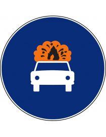 Señal Calzada Para Vehículos Que Transporten Mercancías Explosivas o Inflamables